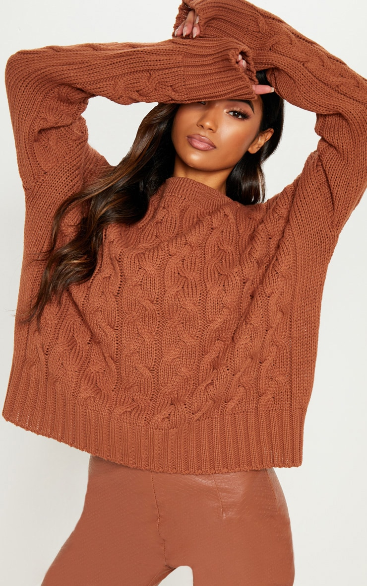 5185be18ad798 Tan Cable Detail Knitted Sweater image 1