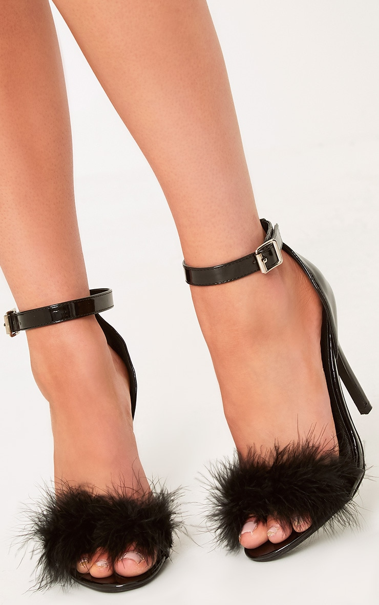 Soraya Black Feather Strap Heels 4