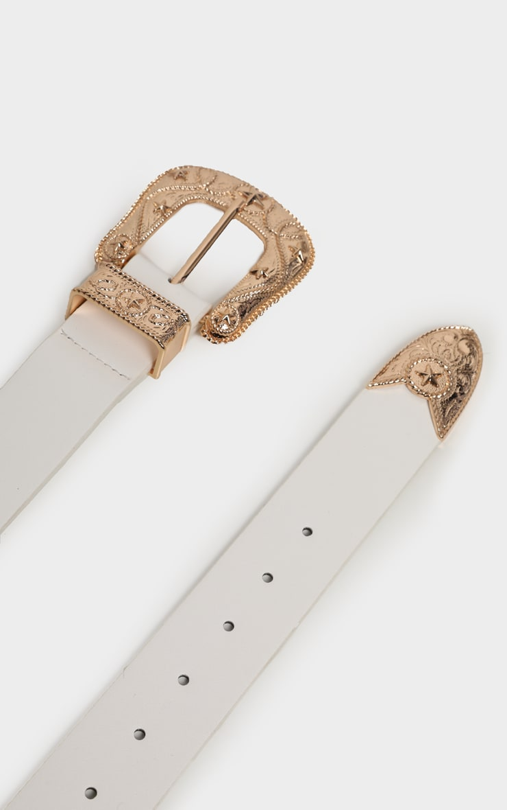 White PU Gold Chunky Stars Western Buckle Belt