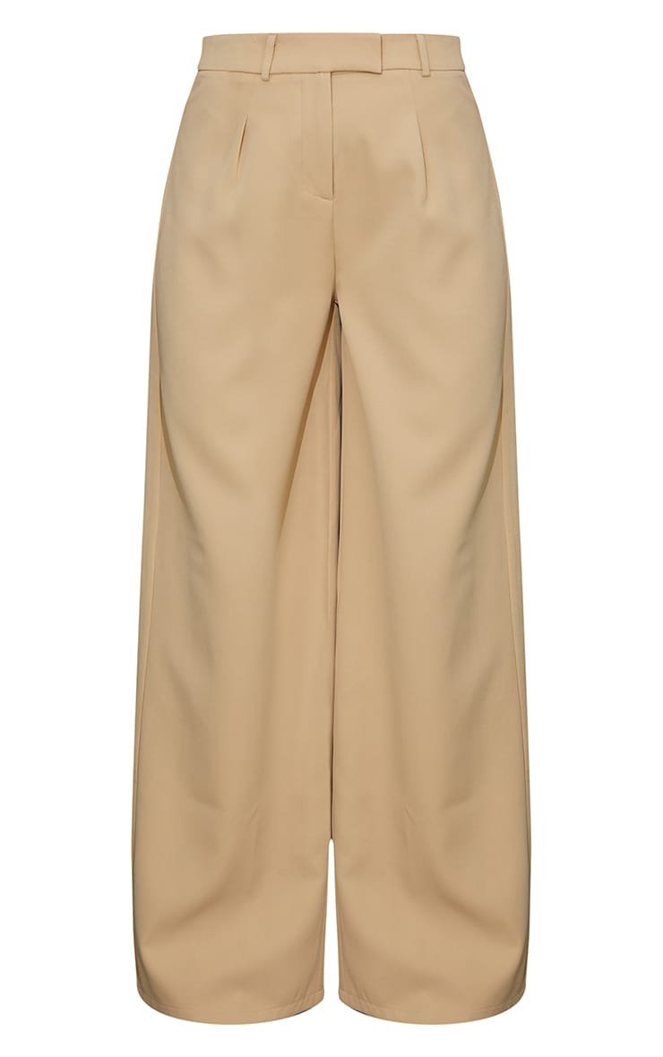 Stone Woven Tailored Wide Leg Trousers 5