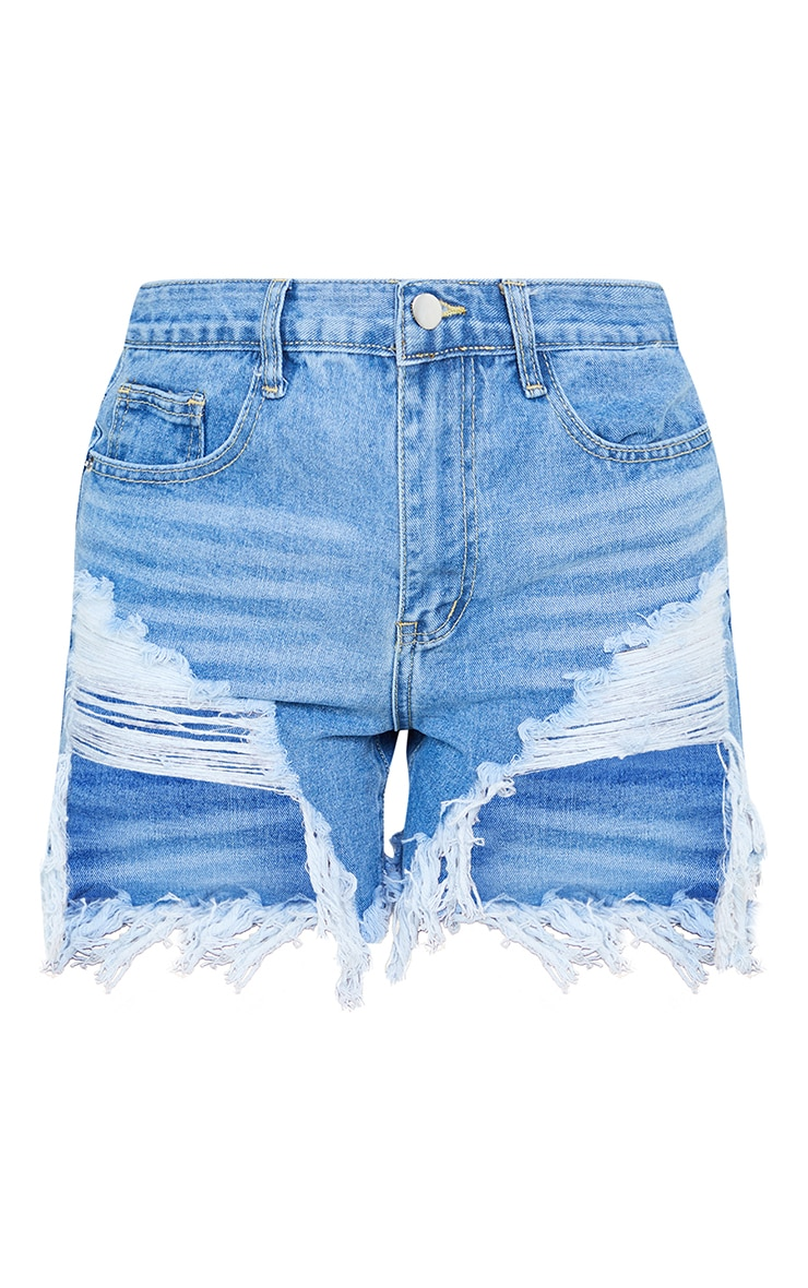 Light Wash Distressed Denim Shorts 6