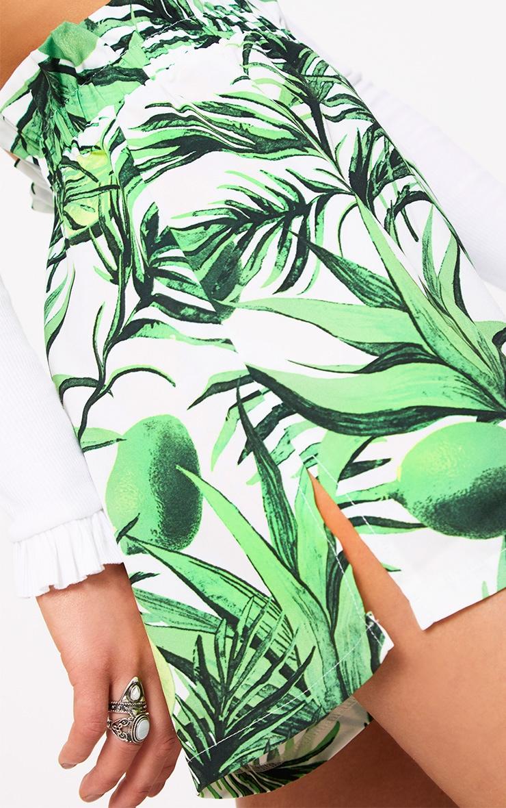White Tropical Print Paperbag Shorts 6
