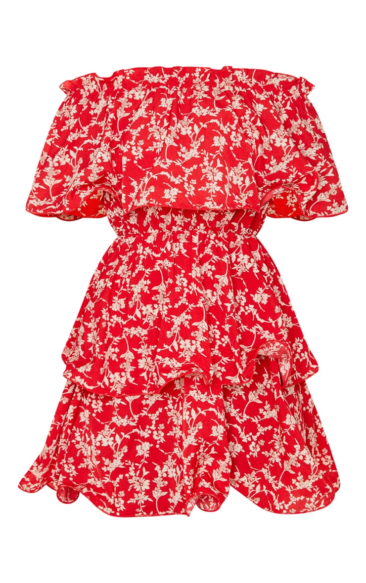 Red Floral Print Chiffon Bardot Ruffle Tiered Dress 3