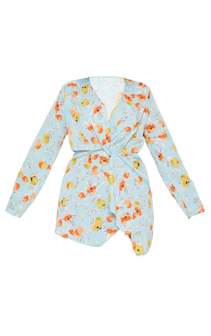 Plus Turquoise Floral Printed Long Sleeve Wrap Dress 3