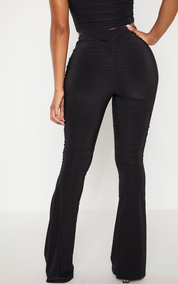 Shape Black Slinky Ruched Bum Flared Trouser 4