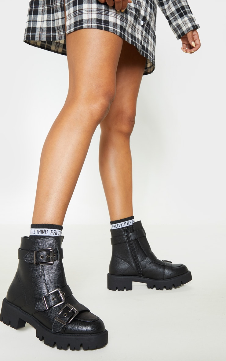Black Triple Buckle Cleated Hiker Ankle Boot 1