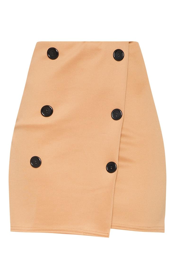 Camel Scuba Button Front A Line Skirt 3