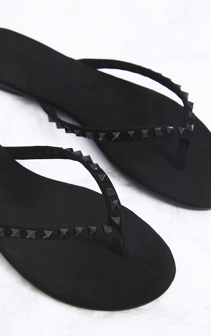limited guantity well known most popular Bonny Black Studded Flip Flops | Shoes | | PrettyLittleThing