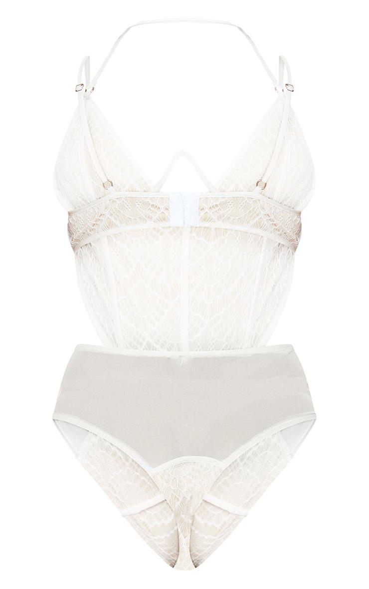 Cream Lace Mesh Wire Bodysuit 4