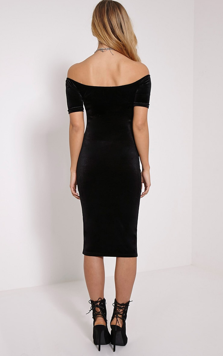 Leonie Black Velvet Bardot Midi Dress 2