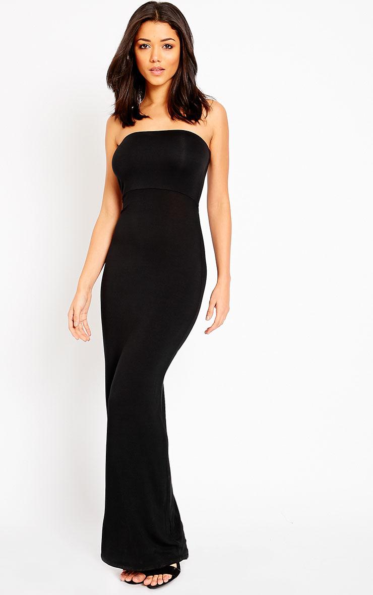 Basic Black Bandeau Maxi Dress 3