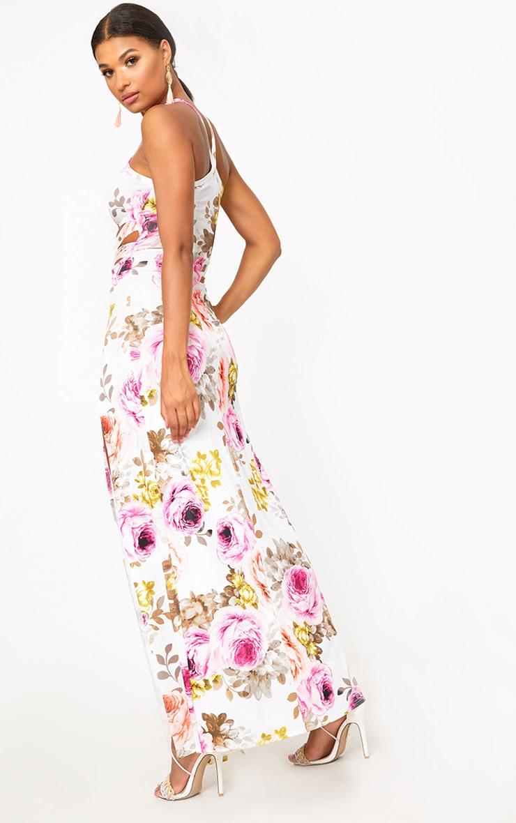 White Floral Cut Out Waist Maxi Dress  2