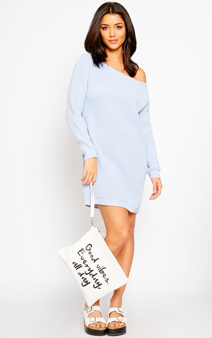 Larissa Powder Blue Off The Shoulder Knitted Dress 3