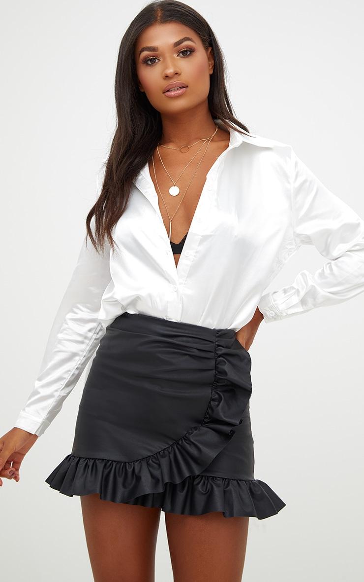 Black Faux Leather Frill Wrap Mini Skirt 1