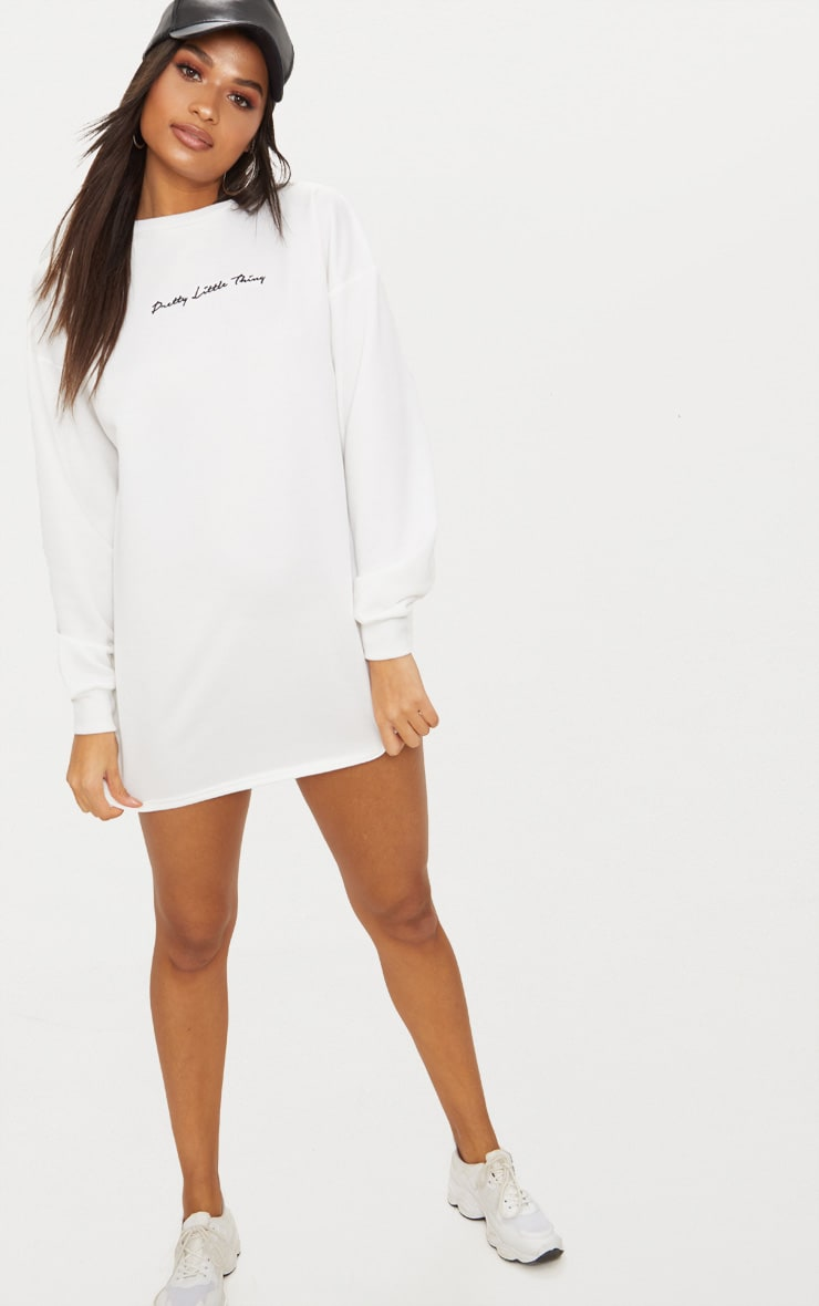 PRETTYLITTLETHING White Embroidered Jumper Dress 4