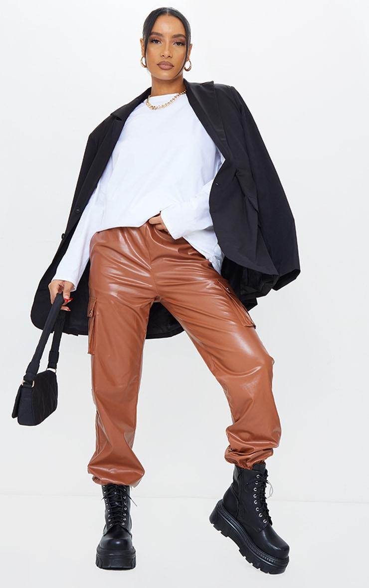 Tan Faux Leather Cargo Pants 1