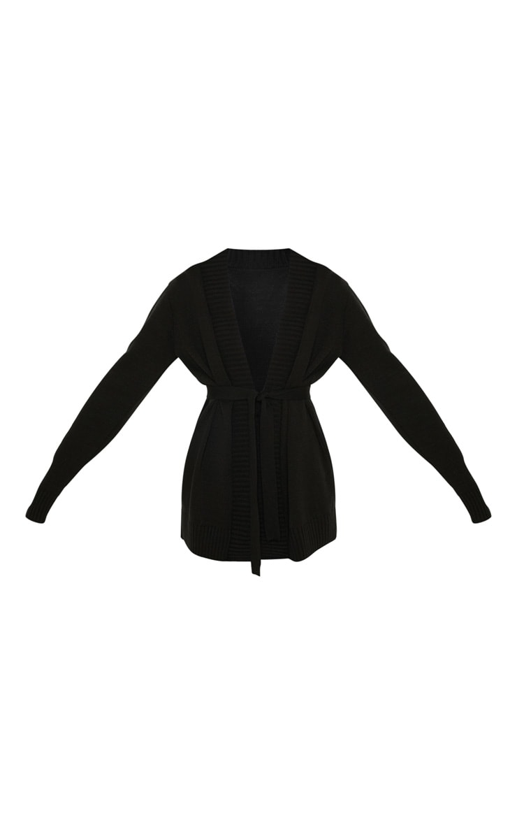Black  Belted Knitted Cardigan 3