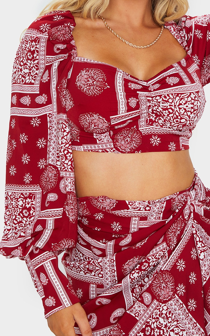 Red Paisley Printed Ruched Blouse 4