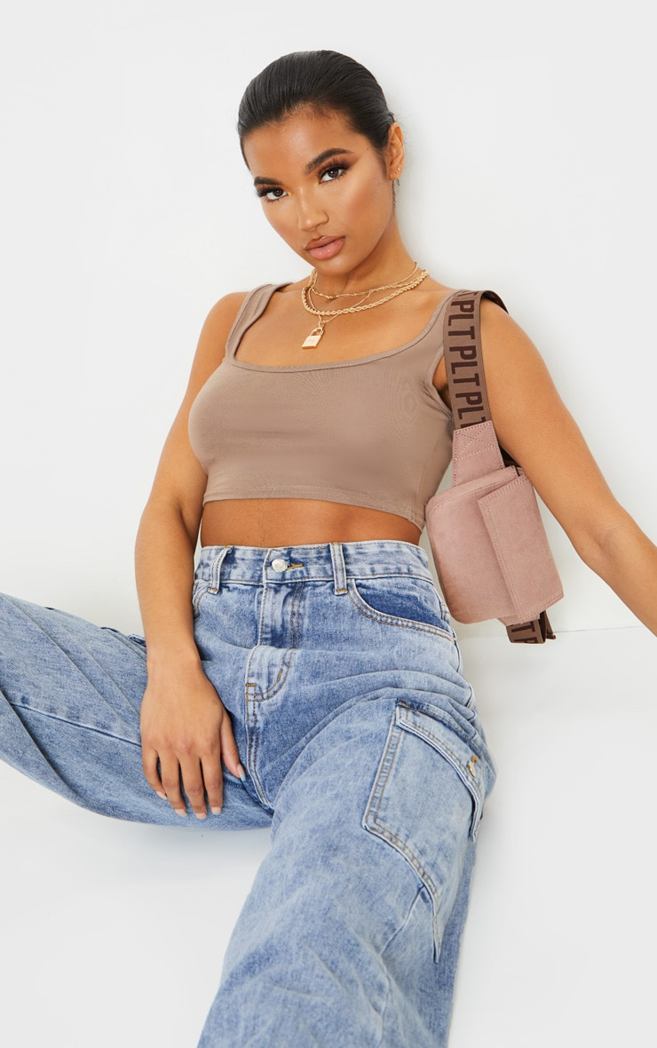 Basic Mocha Scoop Neck Crop Top 1