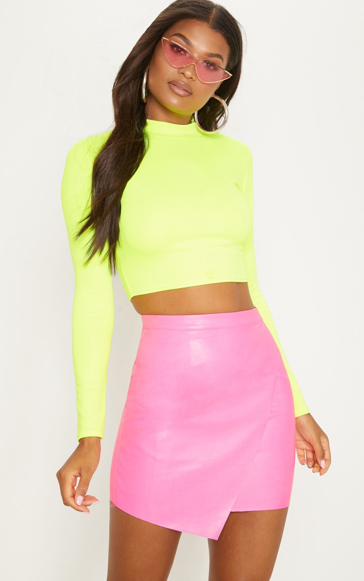 Hot Pink Faux Leather Wrap Mini Skirt 1