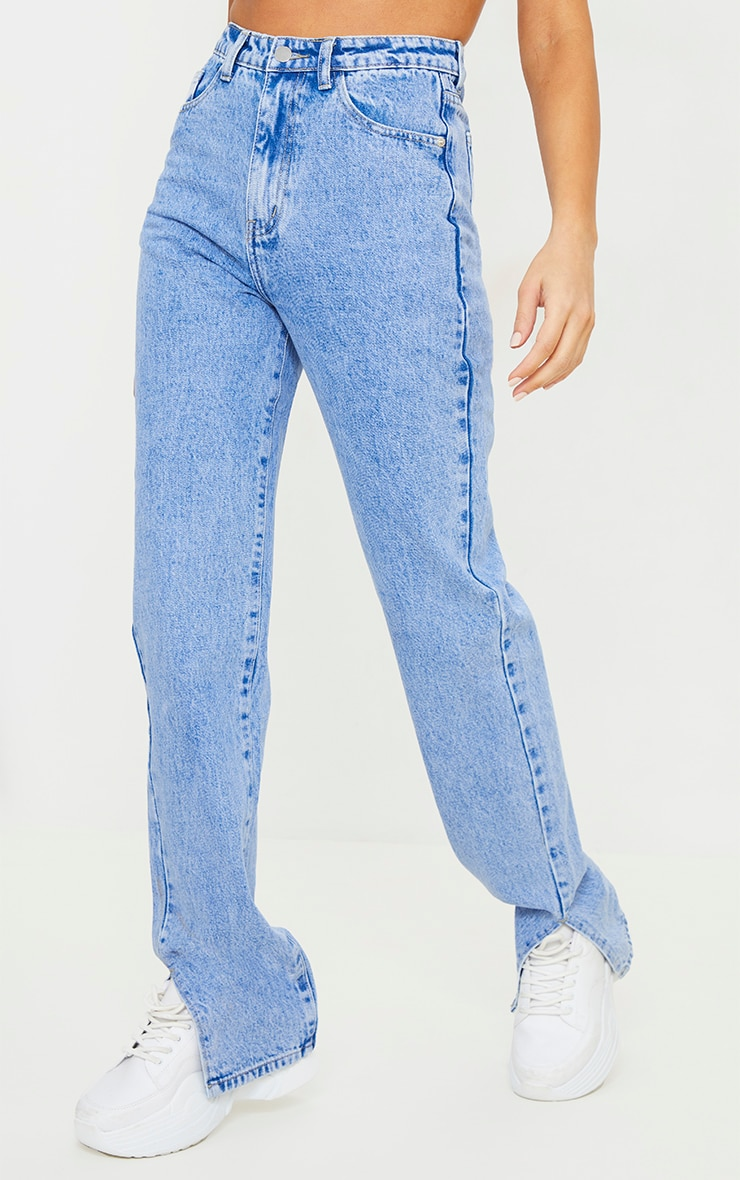 Bright Blue Split Hem Jeans 2
