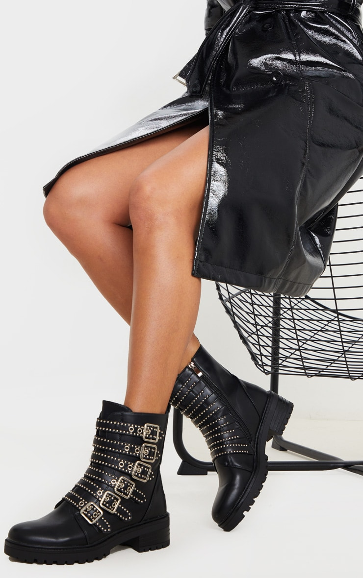 Black Studded Buckle Strap Cleated Biker Boot 1