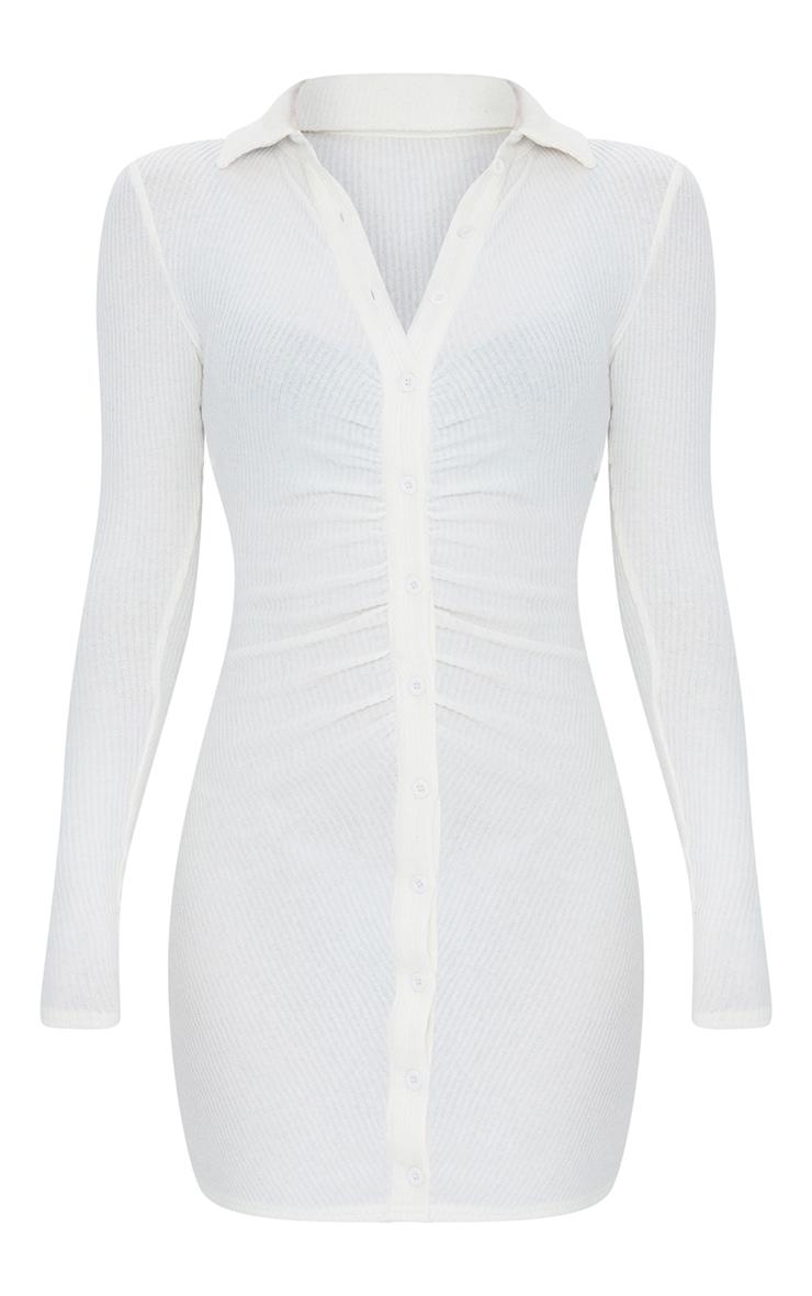 Cream Brushed Rib Long Sleeve Ruched Shirt Dress 5