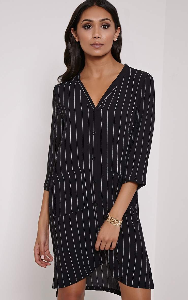 Omarion Black Pinstripe Shirt Dress 1