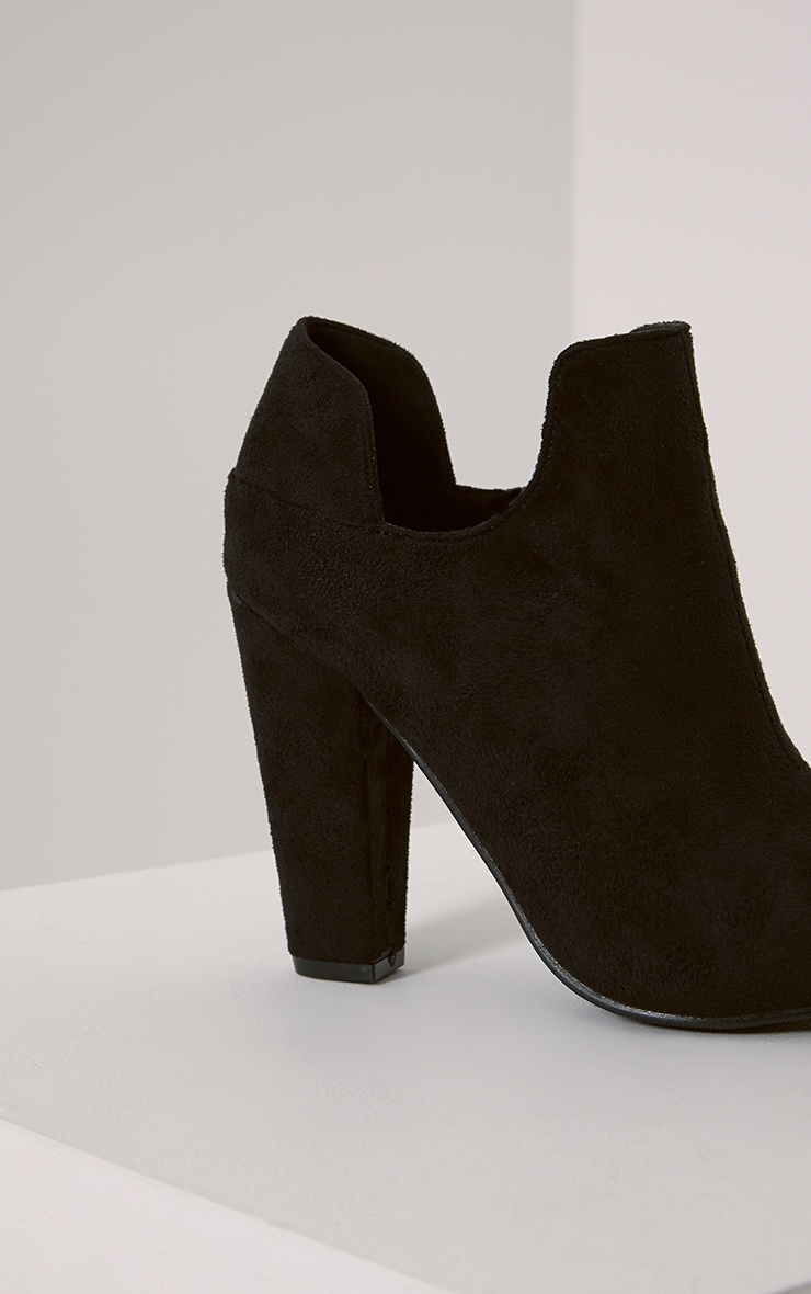 Destry Black Faux Suede Heeled Ankle Boots 6
