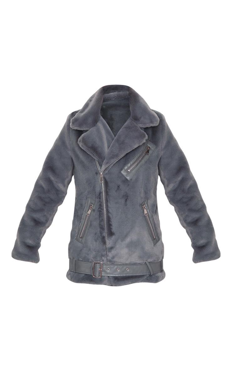 Grey Faux Fur Aviator Jacket 3