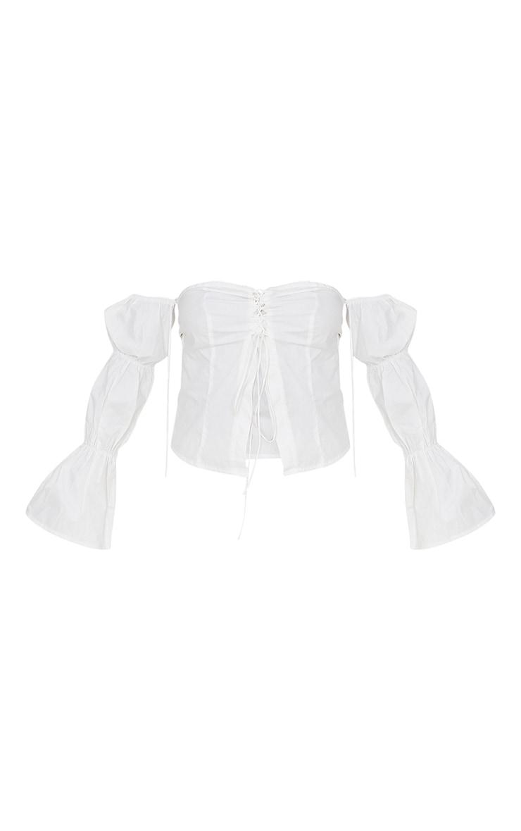 White Cotton Poplin Bardot Lace Up Crop Top 5