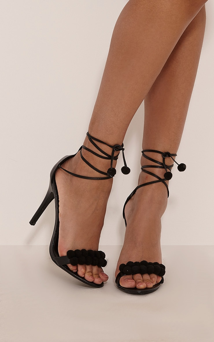 Karia Black Pom Pom Heeled Sandals 1