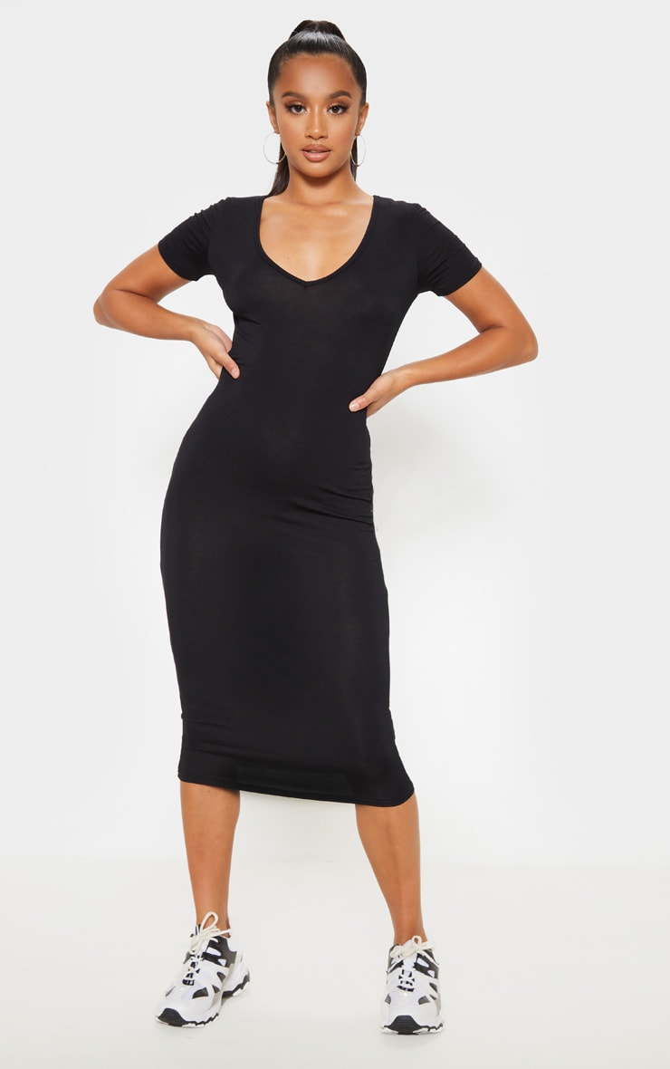 Petite Black V Neck Midi Bodycon Dress 1