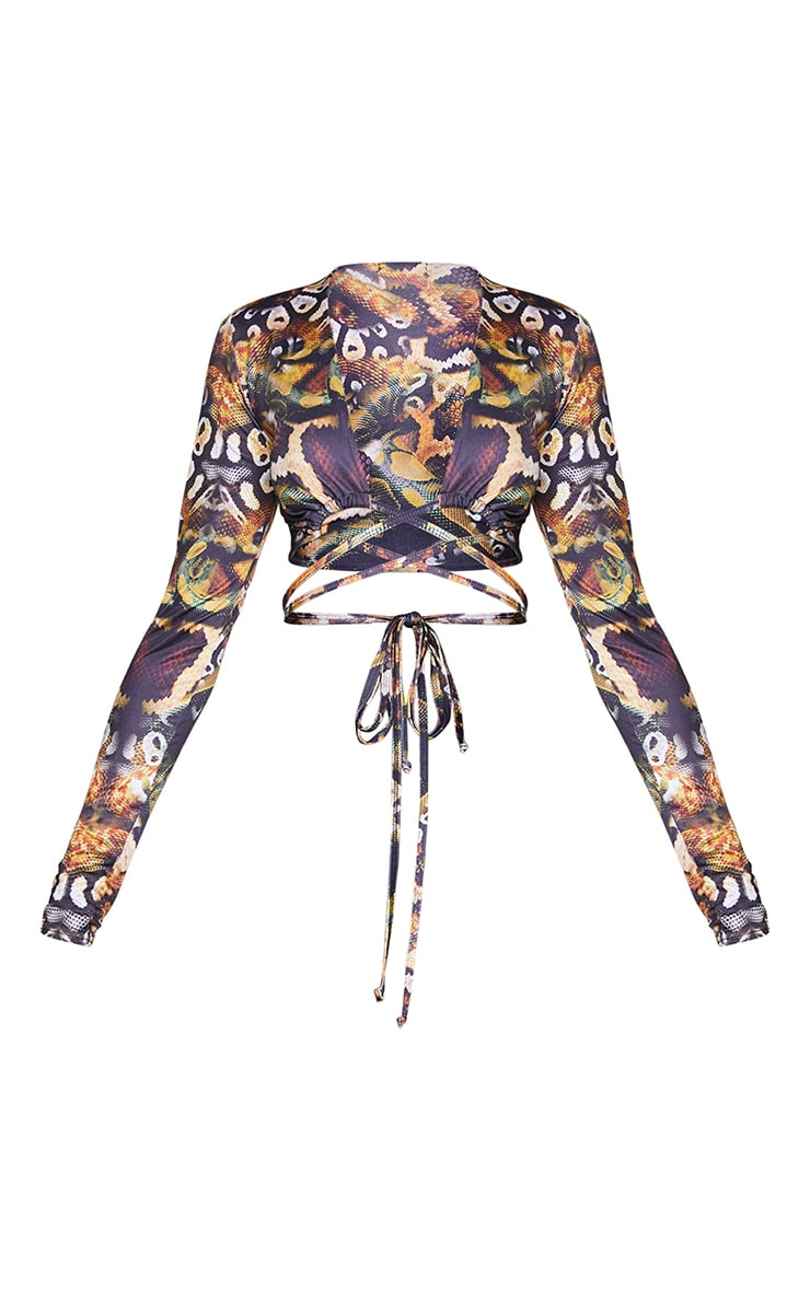 Black Tie Wrap Soft Touch Around Print Long Sleeve Crop Top 5