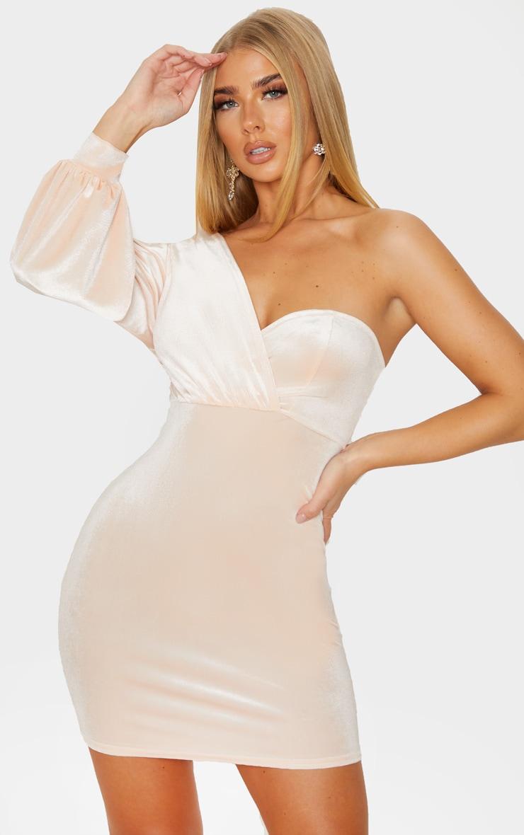 Nude Velvet One Shoulder Dress 1