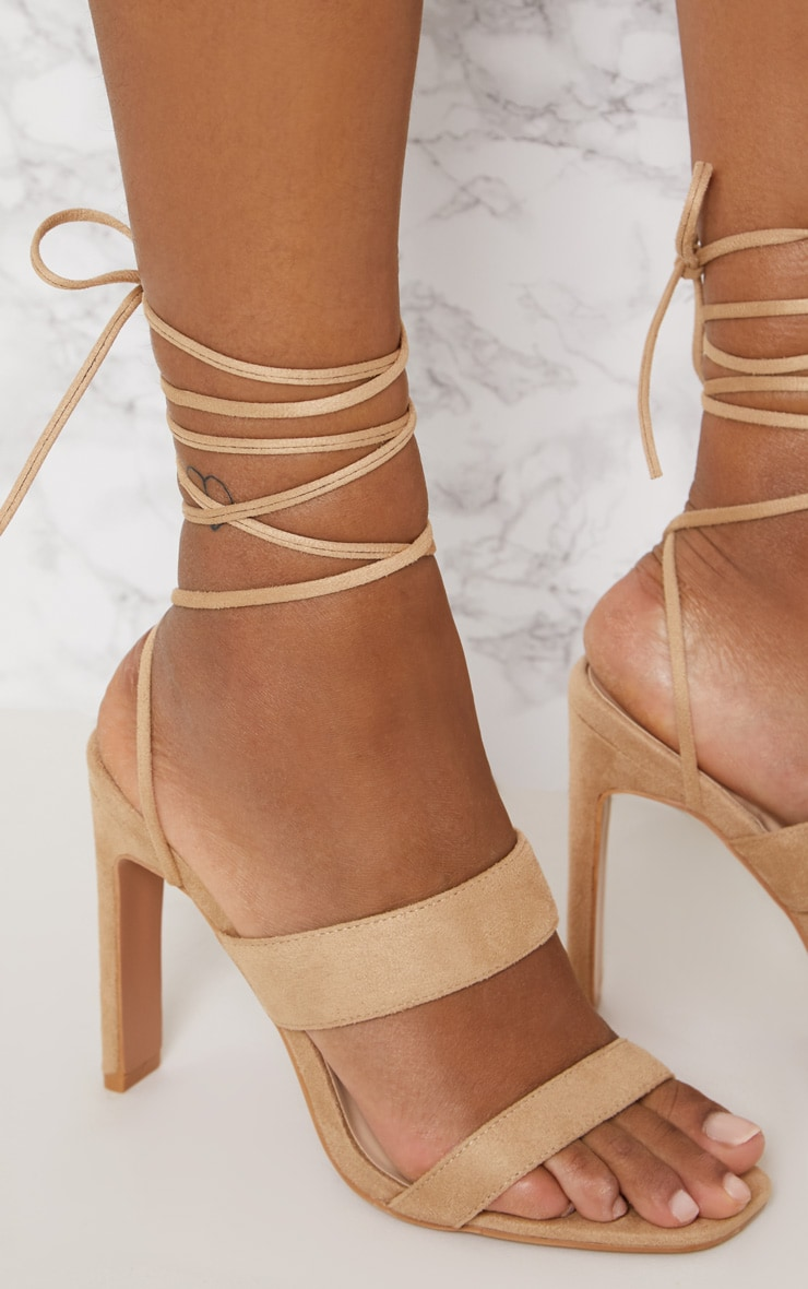 Nude Ankle Lace Up Mule Heel 5