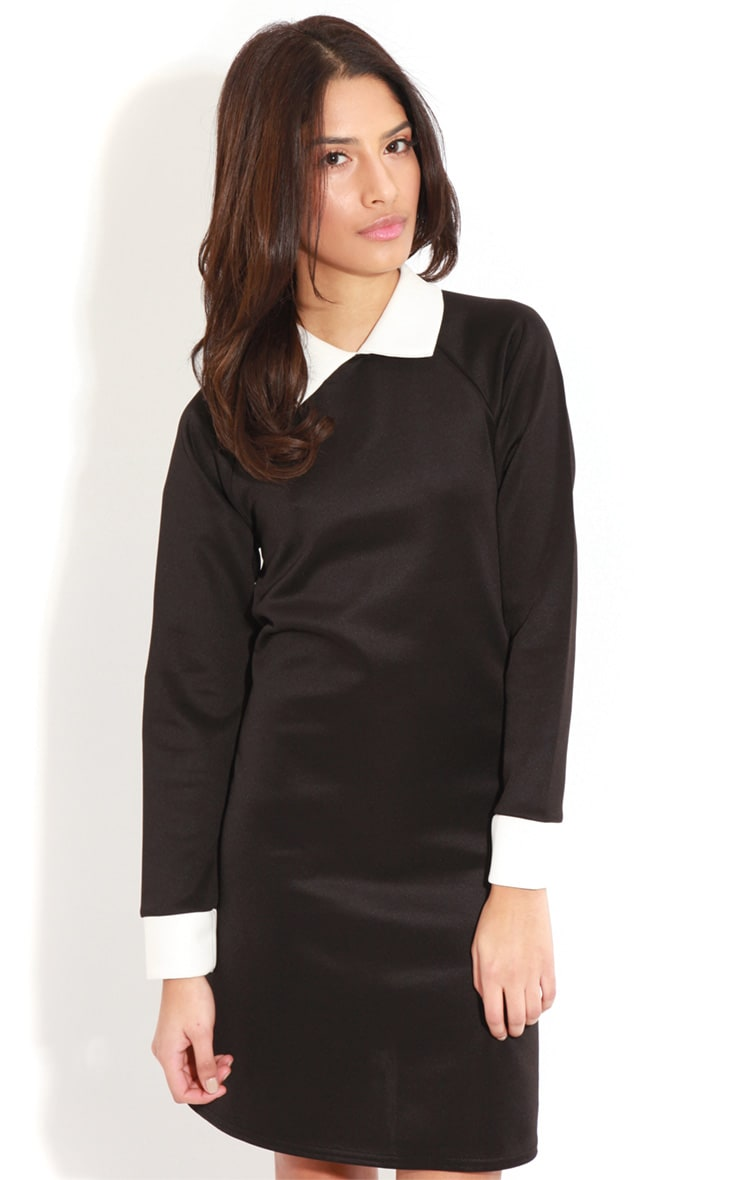 Evelyn Black Long Sleeved Collar Dress 3
