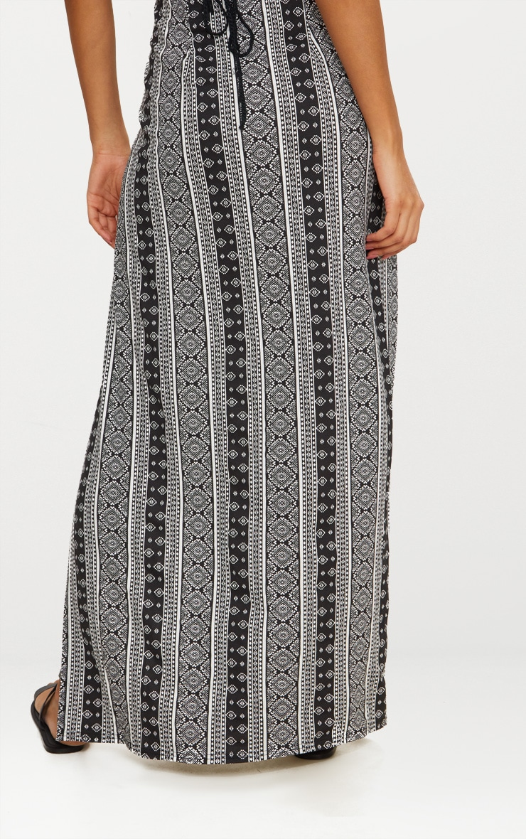 Black Festival Print Double Split Maxi Skirt 3