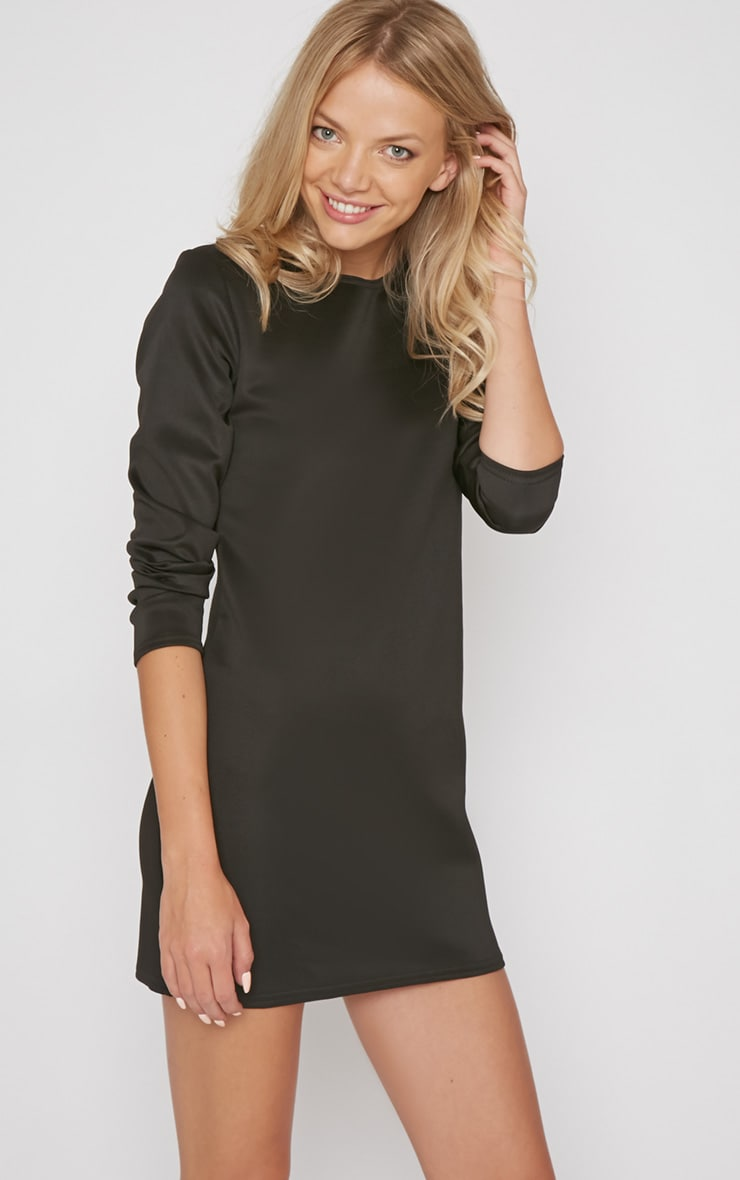 Zelda Black Long Sleeved Scuba Dress 4