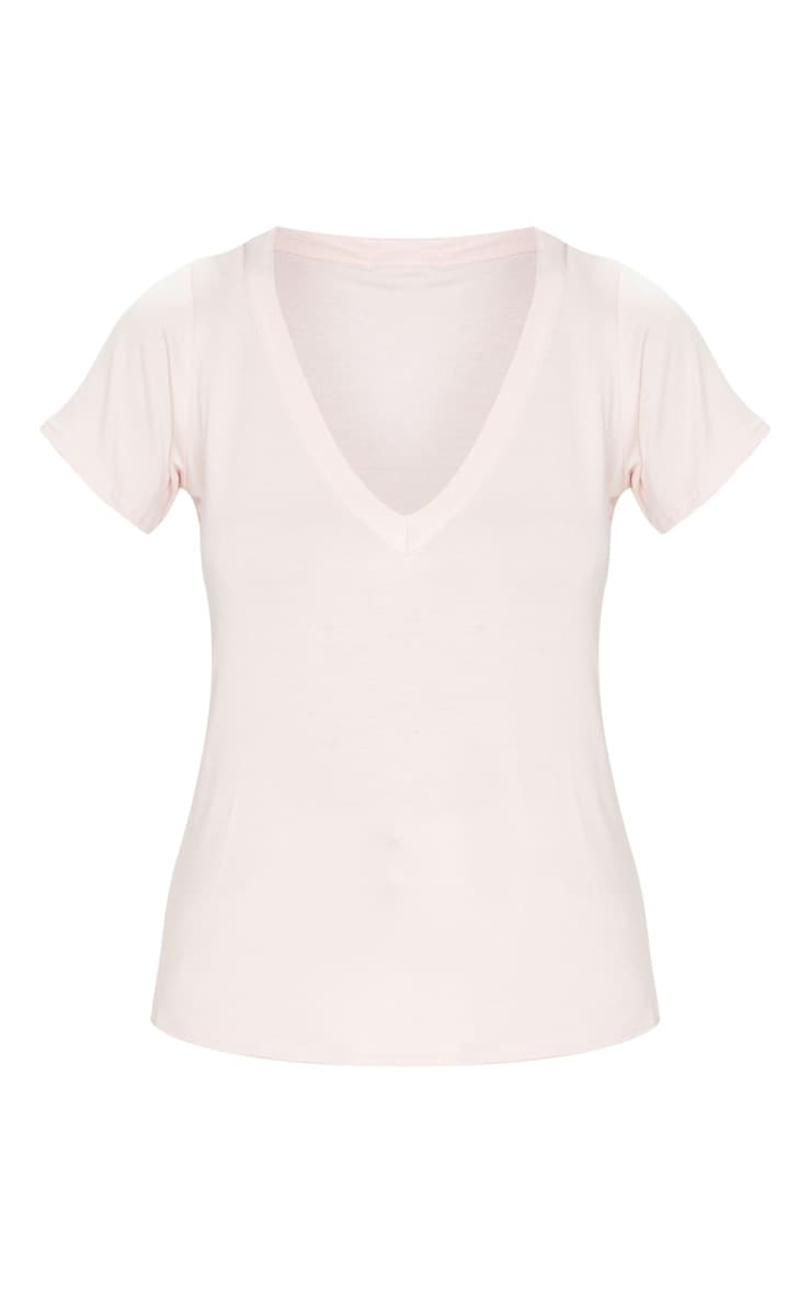 Baby Pink Jersey V Plunge T Shirt 5