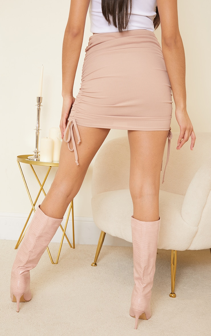 Stone Ribbed Ruched Mini Skirt 3