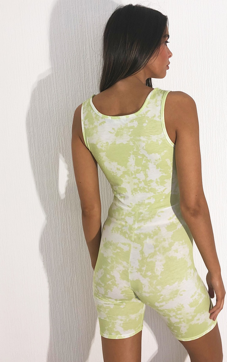 Lime Tie Dye Scoop Neck Cut Out Unitard 2
