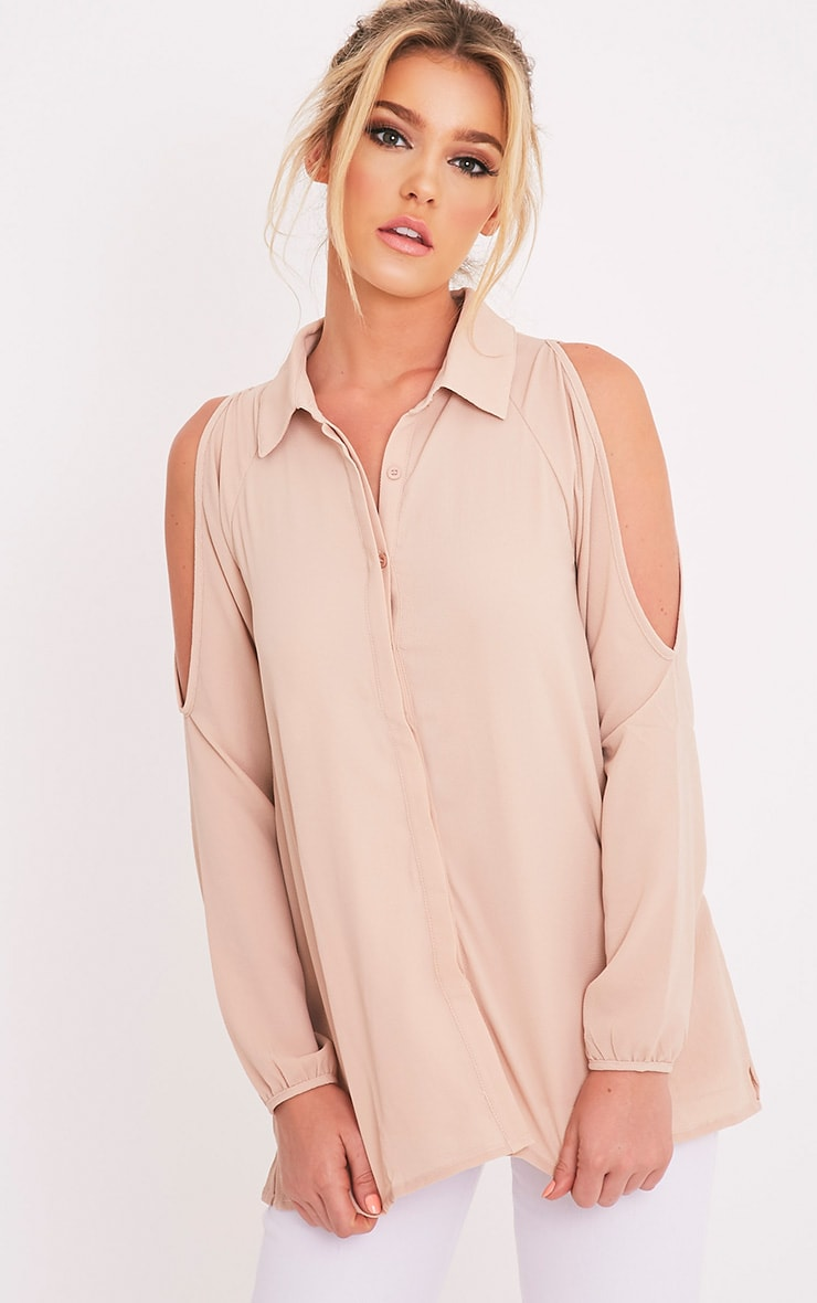 Lorisa Stone Cold Shoulder Floaty Blouse 1