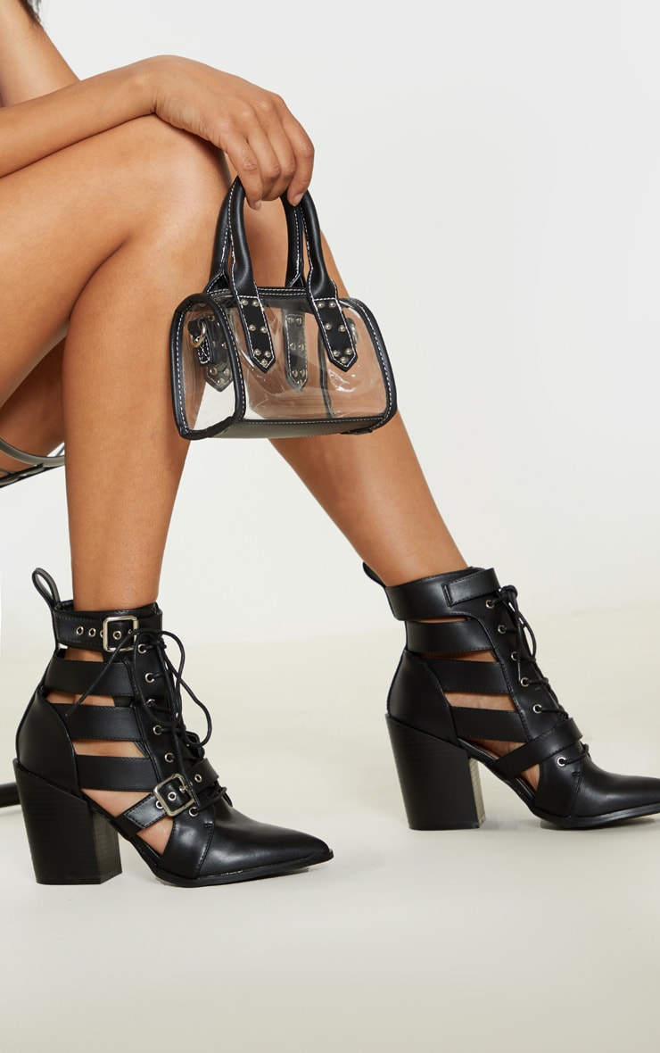 Black Cut Out Heel Boot 2