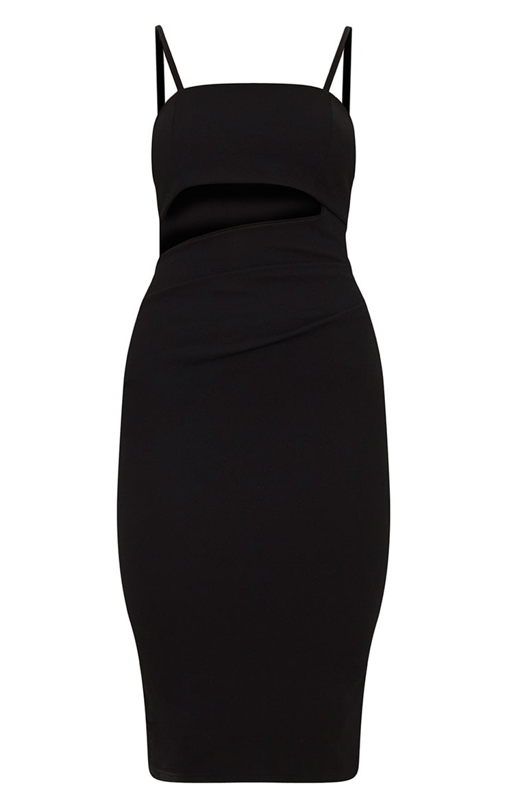 Black Strappy Square Neck Cut Out Detail Ruched Skirt Midi Dress  3