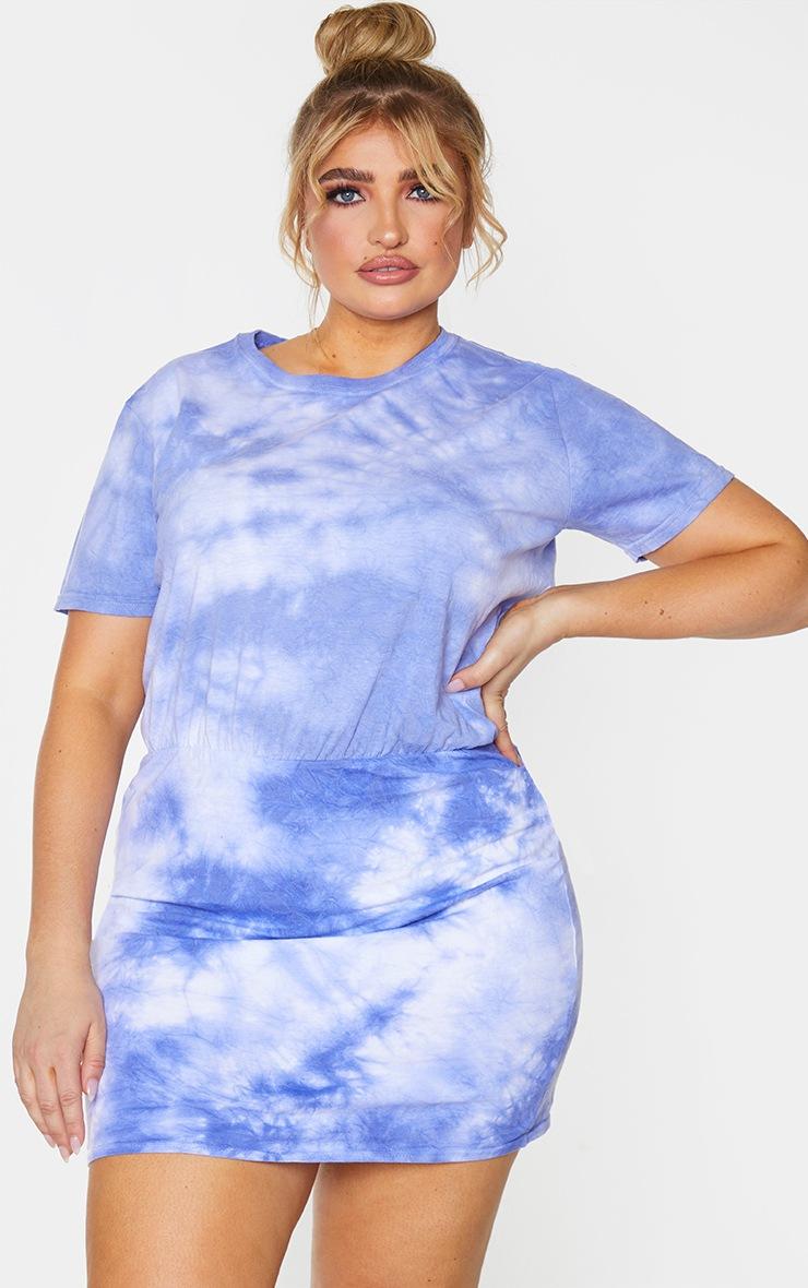 Plus Purple Tie Dye Waist Seam T-Shirt Dress 3