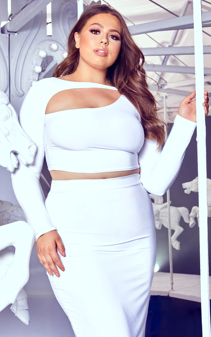 Plus White Cut Out Crop Top 1