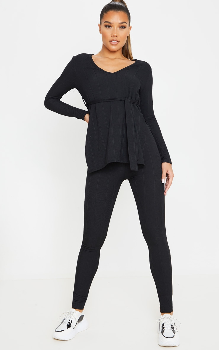 Ensemble côtelé noir top ceinturé + legging 1