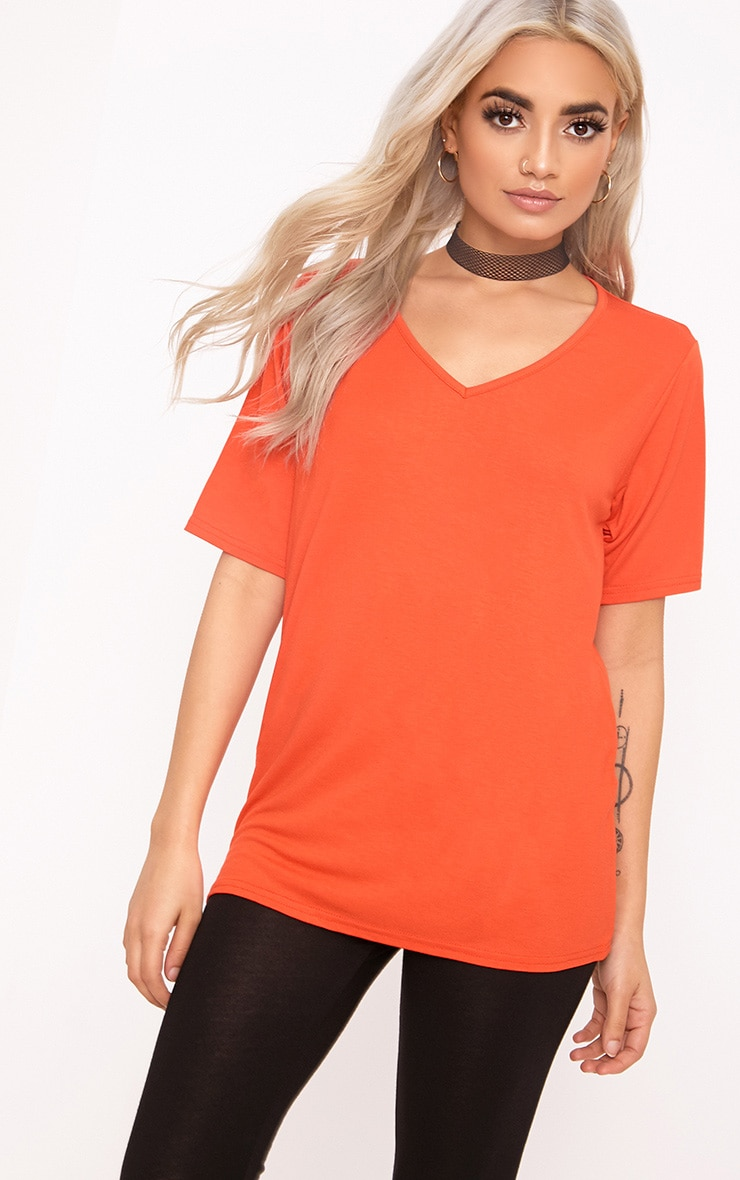 Basic Bright Orange  V Neck T Shirt 1