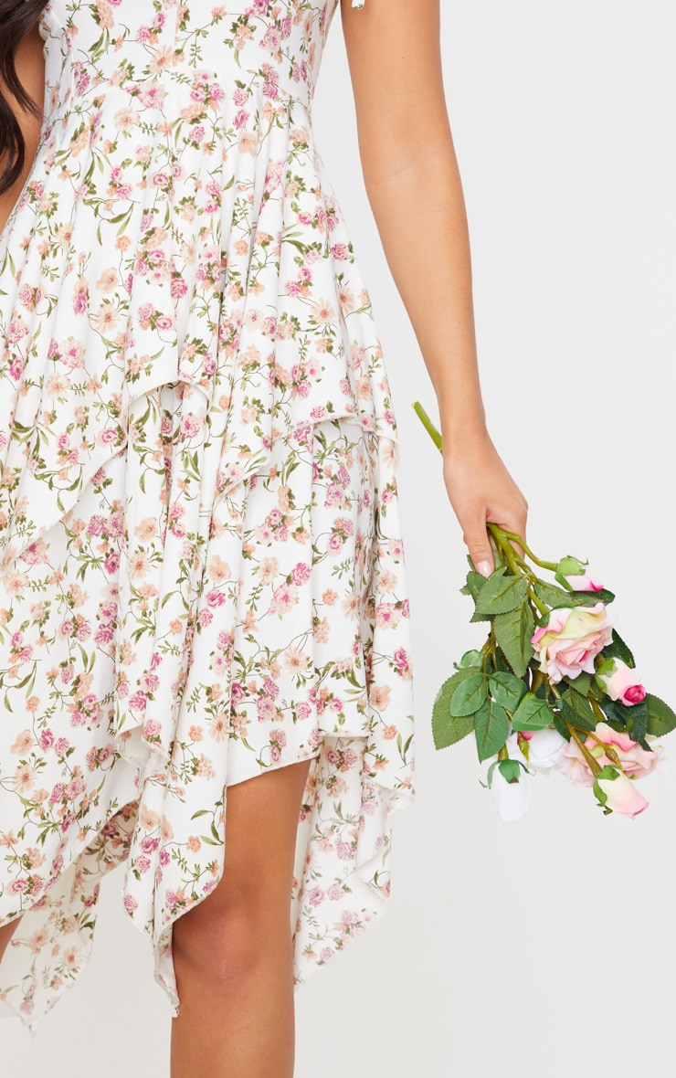 White Floral Print Cup Detail Tiered Midi Dress 4